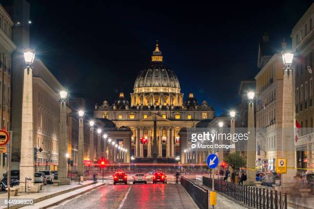 St Peter's Basilica at night. Rome, Italy.
