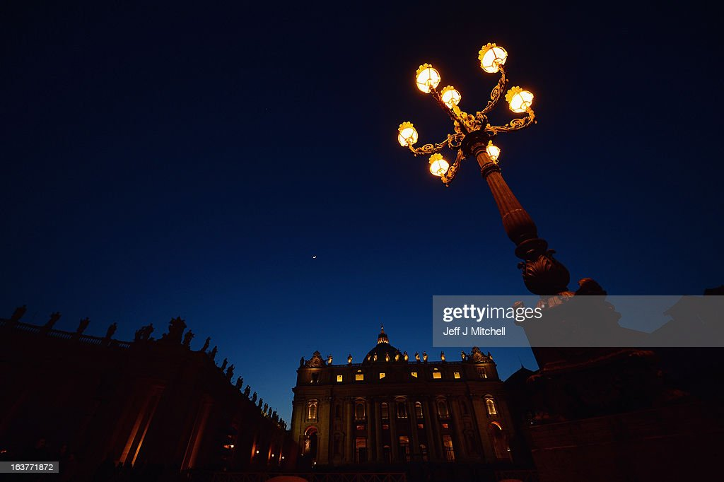 St Peter's Basilica is illuminated in St Peters Square on March 15, 2013 in Vatican, Vatican City. The inauguration mass of Pope Francis, the first ever Latin American Pontiff, will be held on March 19, 2013 in Vatican City. The Pope met with cardinals earlier on his second day as Pontif.