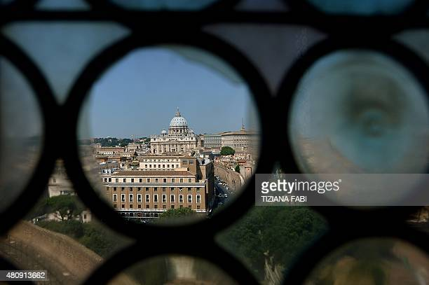 St Peter's Basilica is seen through a window of one the rooms called Cagliostra in the Castel Sant'Angelo in Rome on July 16 2015 The rooms...