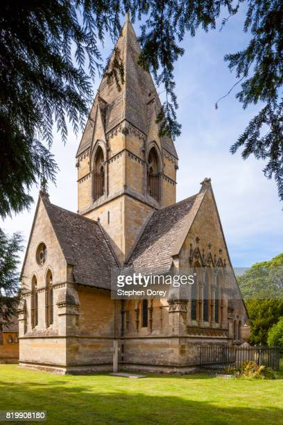 St Peter's church in the Cotswold village of Daylesford, Gloucestershire UK - The tomb of Warren Hastings (died 1818) is outside at the end of the chancel.