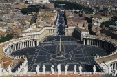 St Peter's Square the colonnade of Gian Lorenzo Bernini and way of conciliation Rome Italy