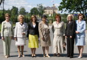 Spouses of G8 leaders US Laura Bush France's Bernadette Chirac Portugal's Maria Margarida Sousa Uva Barroso Italy's Flavia Franzoni wife of Romano...
