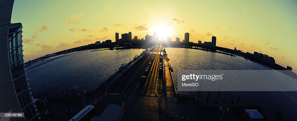 St Petersburgh Skyline at Sunset Fisheye Lens : Stock Photo