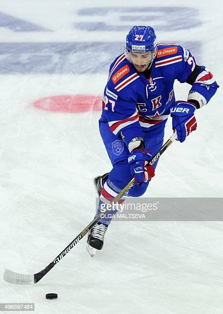 SKA St Petersburgs defenseman Slava Voynov controls the puck during the regular Russian open Kontinental Hockey League's match against Dynamo Moscow...