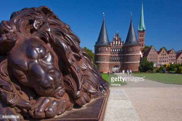 St PetriChurch and Holstentor/ Holstein Gate in the Hanseatic town Lubeck SchleswigHolstein Germany