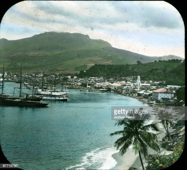 St Pierre and Mont Pelee Martinique prior to the devastating eruption of May 1902
