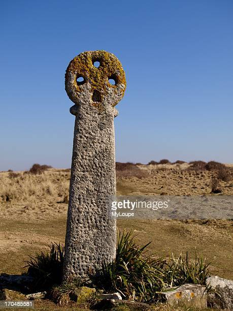 St Piran's cross next to the remains of St Piran's Church Perranporth Cornwall England United Kingdom