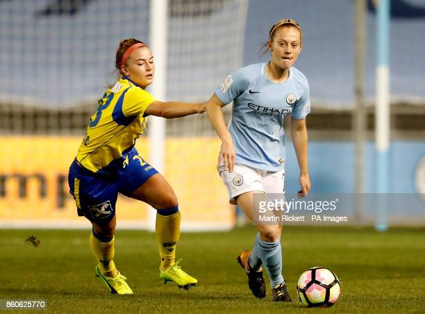 SKN St Polten's Sandrine Sobotka and Manchester City's Keira Walsh battle for the ball during the UEFA Women's Champions League round of 32 second...