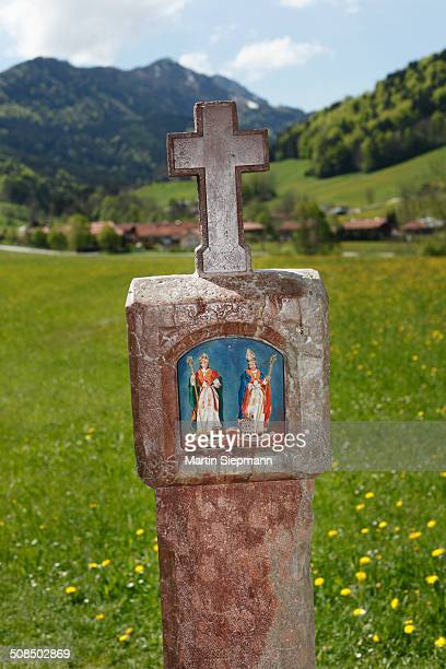St. Rupert and St. Virgil on a wayside shrine, Ruhpolding, Chiemgau region, Upper Bavaria, Bavaria, Germany, Europe, PublicGround