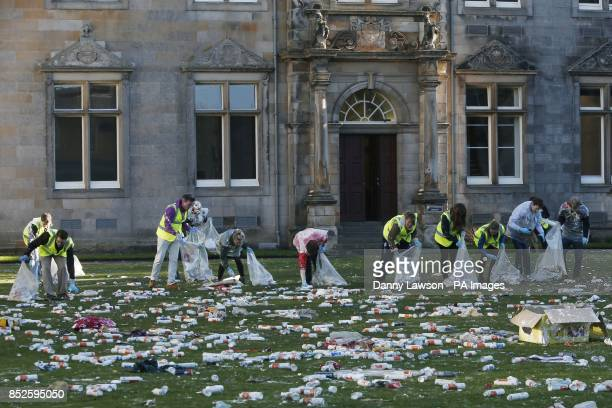 St Salvator's Quad at St Andrews University following a foam fight that forms part of the Raisin Day celebrations