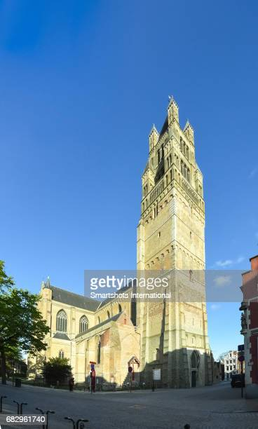 St Saviour's cathedral in Bruges with main facade and majestic bell tower, Flanders, Belgium