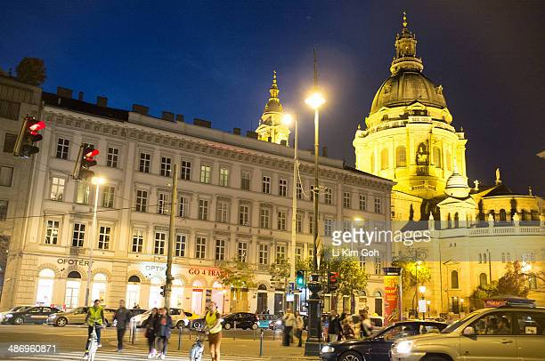 St Stephen's Basilica at night Budapest Hungary
