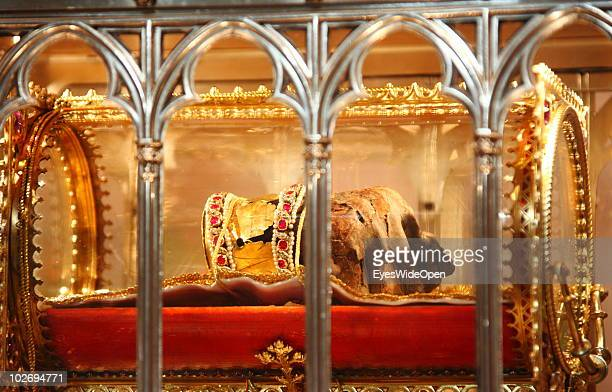 St Stephen's mummified right hand is displayed at St Stephen's Basilica on May 30 2010 in Budapest Hungary Budapest is a big european city and the...