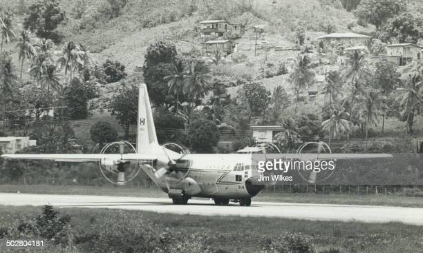 St Vincent Canadian Forces C130 Hercules brings Aslis/ food and medical supplies at Arnos Vale airport