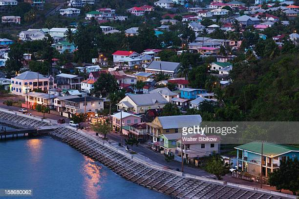 St. Vincent, Layou, elevated town view, dusk