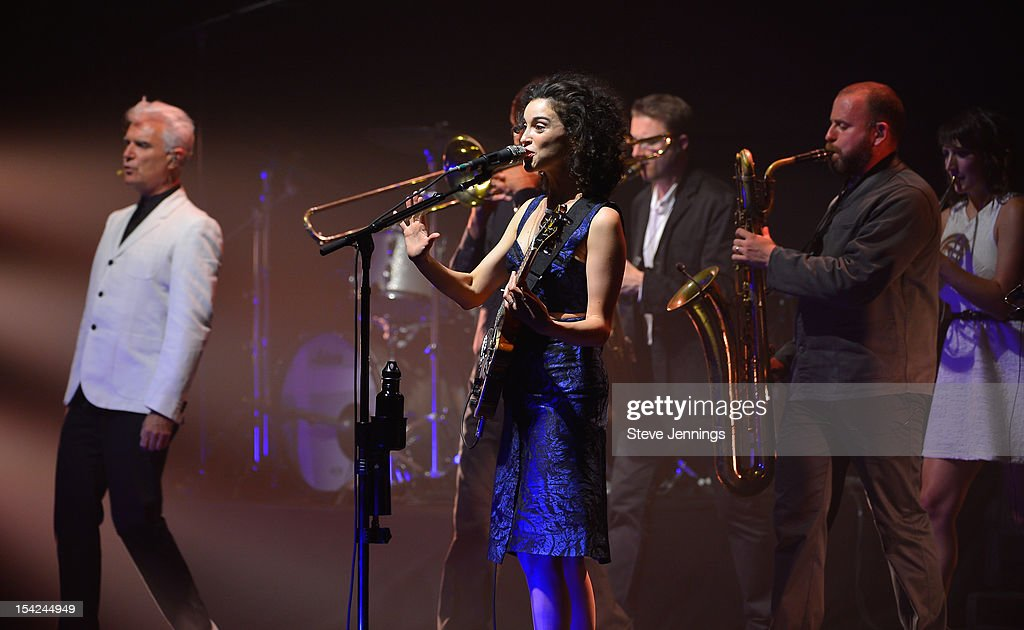 St. Vincent (R) performs with David Byrne (L) at Orpheum Theatre on October 15, 2012 in San Francisco, California.