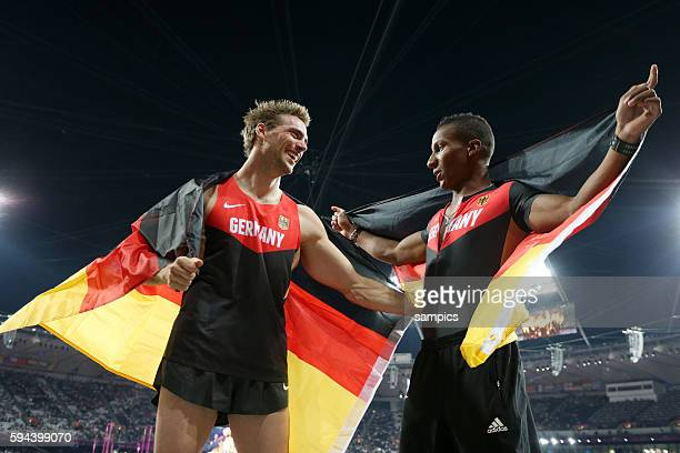 Stabhochsprung Pole Vault Silber für Bjoern Otto GER und Raphael Holzdeppe GER Athletics Leichtathletik Olympische Sommerspiele in London 2012...