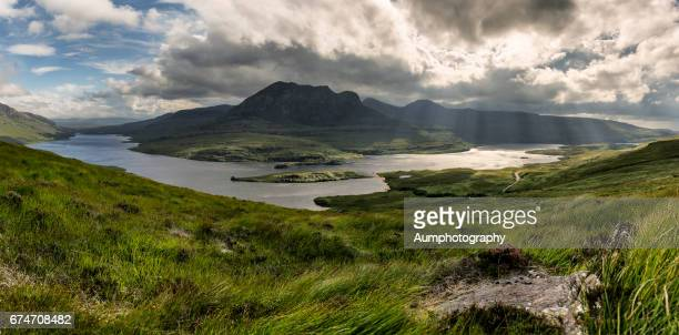Stac Pollaidh at Scotland Highland mountain wilderness dramatic landscape panorama