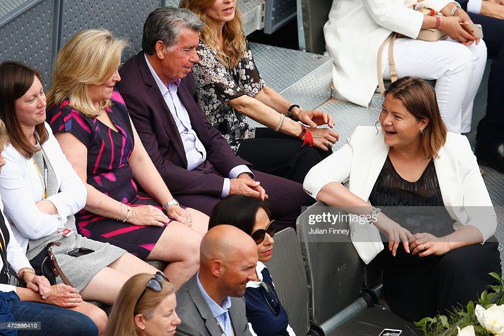 Stacey Allaster the Chairman and CEO of the WTA talks with Dinara Safina as Petra Kvitova of Czech Republic played Svetlana Kuznetsova of Russia in...