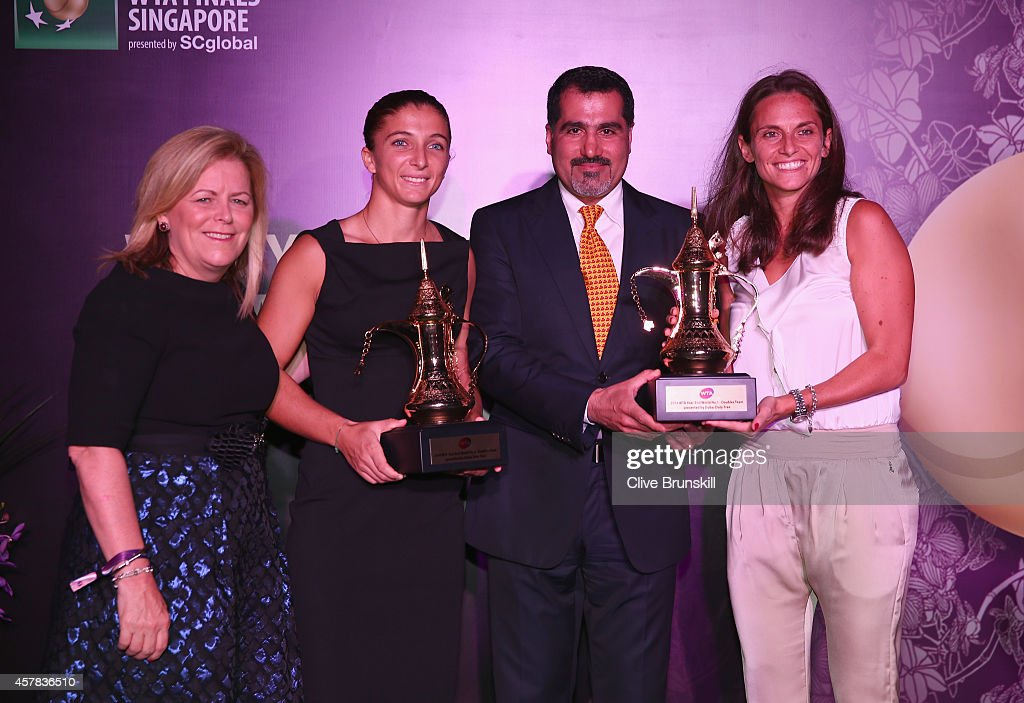 Stacey Allaster WTA CEO and Chairman Salah Tahlak from Dubai Duty Free Roberta Vinci and Sara Errani of Italy who hold their WTA Year End World...