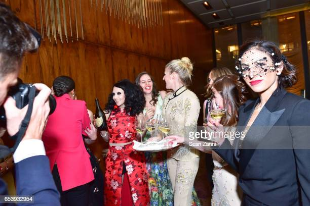 Stacey Bendet Eisner Guest Casey Fremont Zoe Buckman Guest and Shari Loeffler attend Art Production Fund's Bright Lights Big City Gala at Seagram...