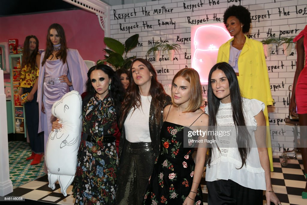 Stacey Bendet, Scout Willis, Tallulah Willis and Demi Moore attend Alice + Olivia By Stacey Bendet fashion show, New York Fashion Week: The Shows at Gallery 2, Skylight Clarkson Sq on September 12, 2017 in New York City.