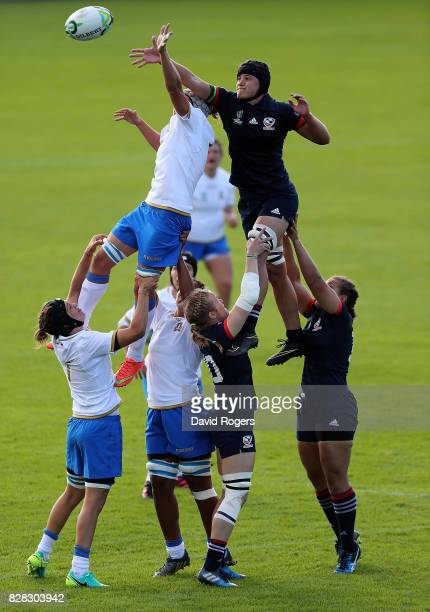 Stacey Bridges of The USA and Silvia Gaudino of Italy battle for line out ball during the Women's Rugby World Cup 2017 match between USA and Italy on...