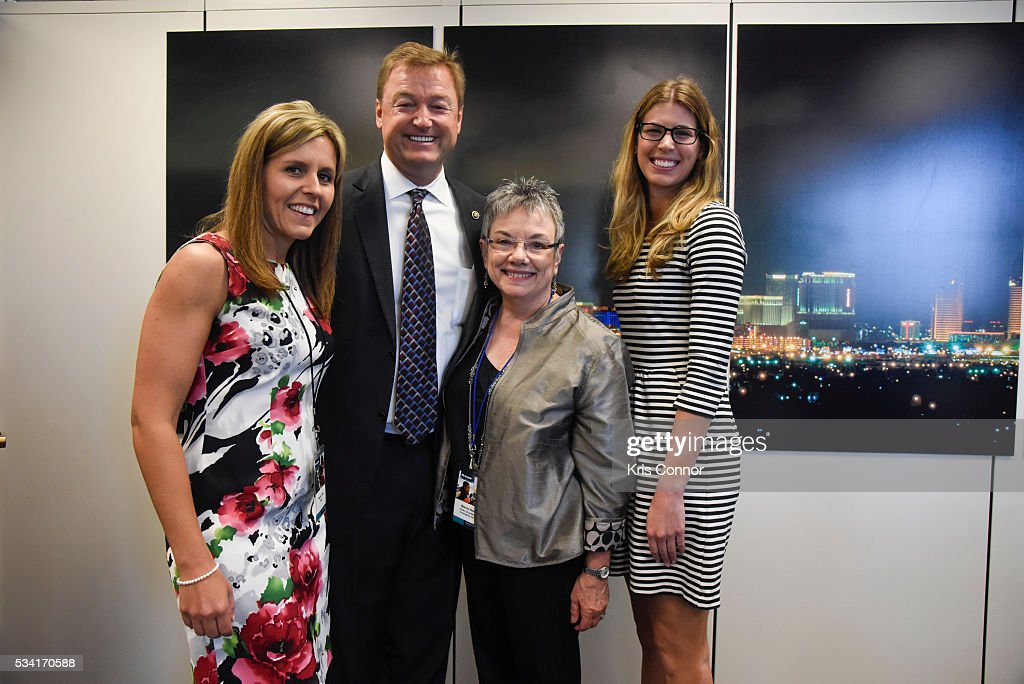 Stacey Clark and Marcia Neel of NAMM (National Association of Music Merchants) meet with Sen. <a gi-track='captionPersonalityLinkClicked' href=/galleries/search?phrase=Dean+Heller&family=editorial&specificpeople=3945227 ng-click='$event.stopPropagation()'>Dean Heller</a> (R-NV) during the NAMM, CMA (Country Music Association) and VH1 Music Advocacy Day in the US Capitol on May 25, 2016 in Washington DC.