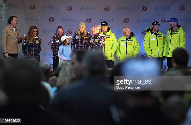 Stacey Cook answers questions from a young fan along with members of the US Alpine Ski Team during their team presentation on November 6 2010 in Vail...