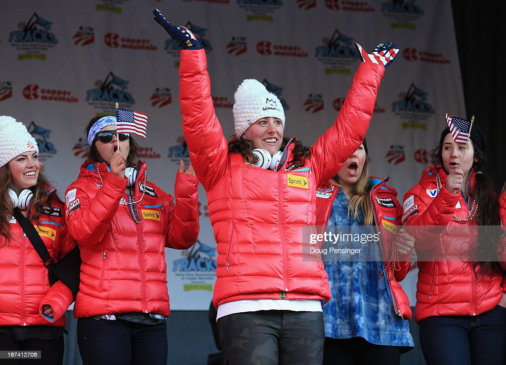 Stacey Cook is introduced during the U.S. Alpine Ski Team Announcement and pep rally at Copper Mountain on November 8, 2013 in Copper Mountain, Colorado.