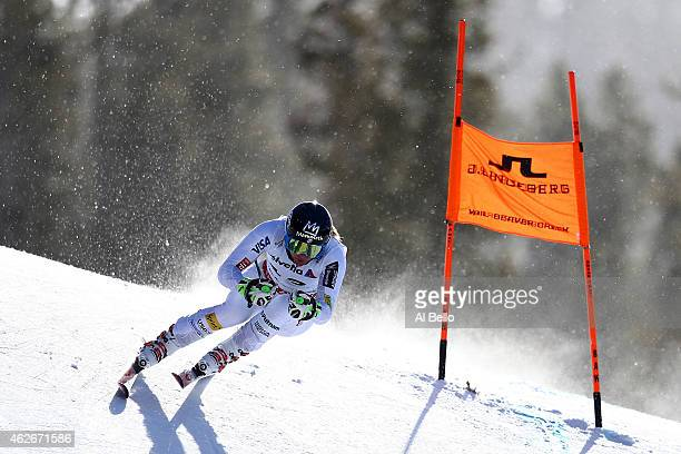 Stacey Cook of the United States practices during Ladies' Downhill Training on the Raptor course on Day 1 of the 2015 FIS Alpine World Ski...