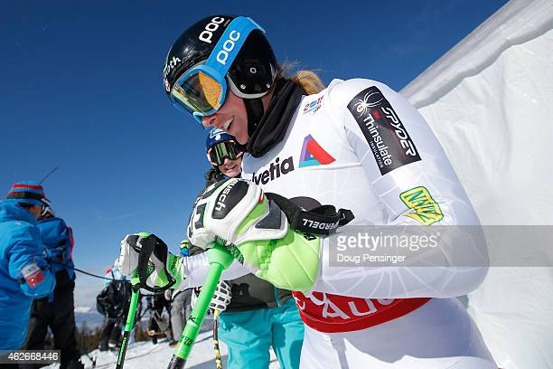 Stacey Cook of the United States prepares for the Ladies' Downhill Training on the Raptor course on Day 1 of the 2015 FIS Alpine World Ski...