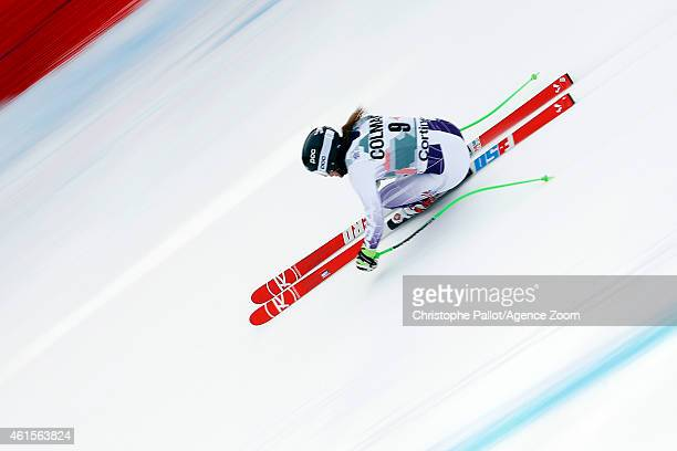 Stacey Cook of the USA competes during the Audi FIS Alpine Ski World Cup Women's Downhill Training on January 15 2015 in Cortina d'Ampezzo Italy
