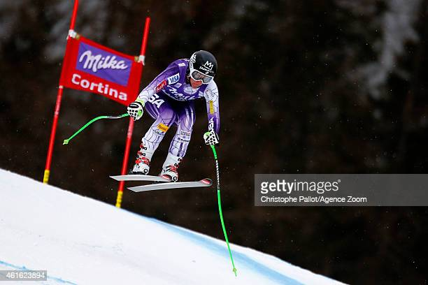 Stacey Cook of the USA competes during the Audi FIS Alpine Ski World Cup Women's Downhill on January 16 2015 in Cortina d'Ampezzo Italy