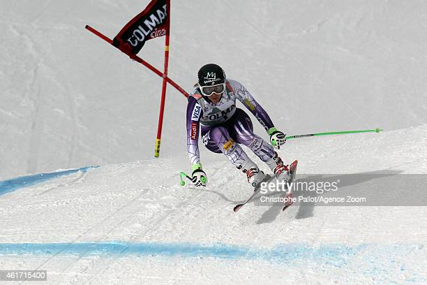 Stacey Cook of the USA competes during the Audi FIS Alpine Ski World Cup Women's Downhill on January 18 2015 in Cortina d'Ampezzo Italy