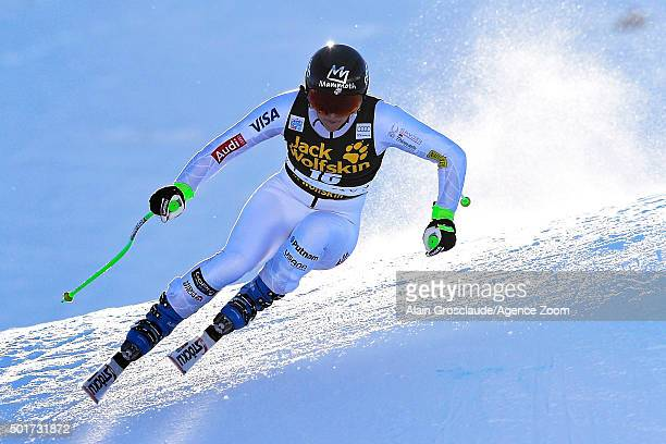 Stacey Cook of the USA competes during the Audi FIS Alpine Ski World Cup Women's Downhill Training on December 17 2015 in Val d'Isere France