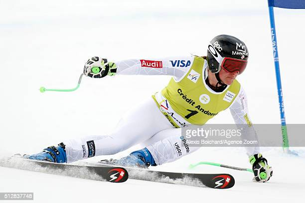 Stacey Cook of the USA competes during the Audi FIS Alpine Ski World Cup Women's Super Combined on February 28 2016 in Soldeu Andorra