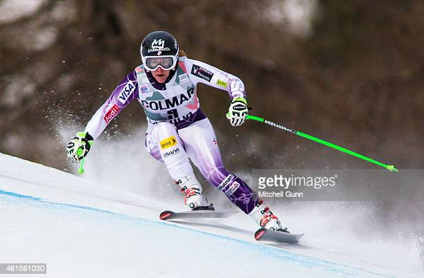 Stacey Cook of The USA competes during the FIS Alpine Ski World Cup Women's downhill training on January 15 2015 in Cortina d'Ampezzo Italy