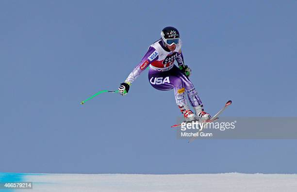 Stacey Cook of The USA competes during the FIS Alpine Ski World Cup Women's downhill training on March 17 2015 in Meribel France