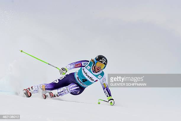 Stacey Cook of the USA competes during the FIS women's Alpine Ski World Cup SuperG race in St Moritz on January 25 2015 AFP PHOTO / GUENTER SCHIFFMANN