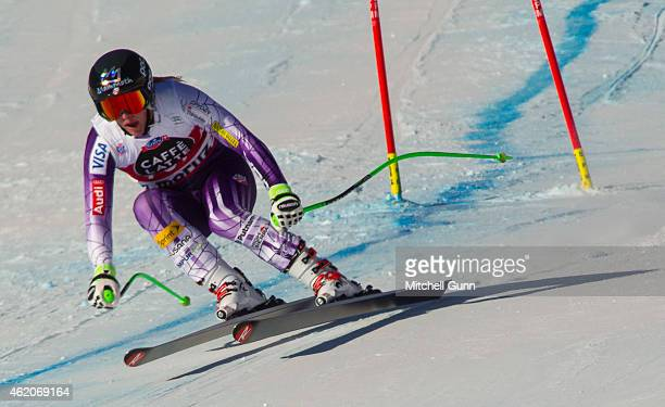 Stacey Cook of The USA competing in the Audi FIS Alpine Skiing World Cup women's downhill race on January 24 2015 in St Moritz Switzerland