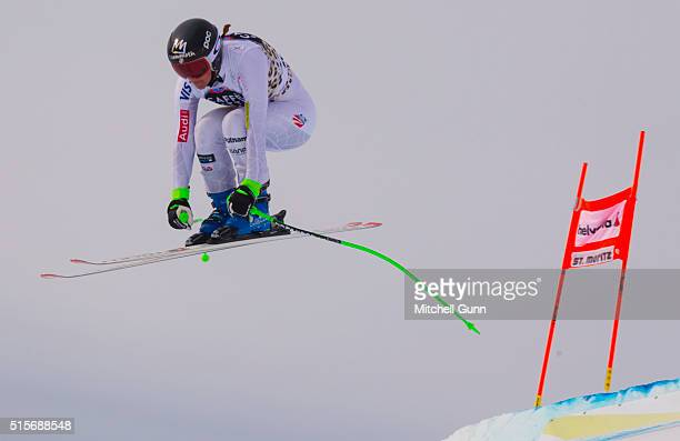 Stacey Cook of The USA during the Audi FIS Alpine Skiing World Cup downhill training on March 15 2015 in St Moritz Switzerland