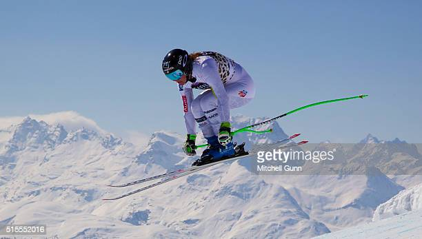 Stacey Cook of The USA in action during Audi FIS Alpine Skiing World Cup downhill training on March 14 2015 in St Moritz Switzerland