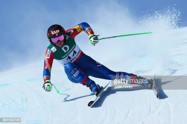 Stacey Cook of USA competes in the Ladies Downhill training on February 9 2017 in St Moritz Switzerland