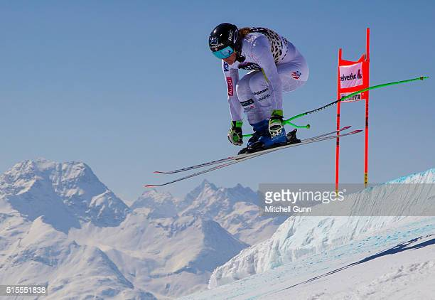 Stacey Cook of USA in action during the Audi FIS Alpine Skiing World Cup downhill training on March 14 2015 in St Moritz Switzerland