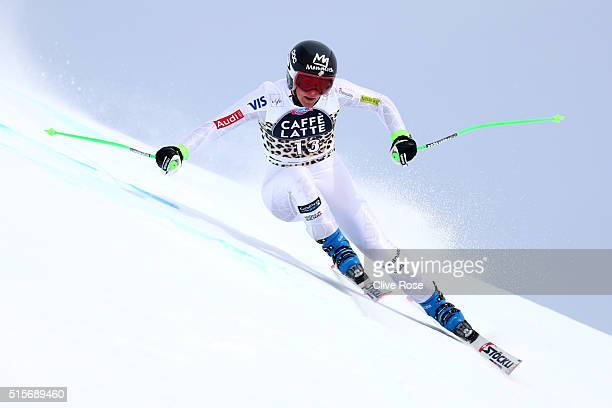 Stacey Cook of USA in action during the Audi FIS Alpine Skiing World Cup Women's downhill training on March 15 2016 in St Moritz Switzerland