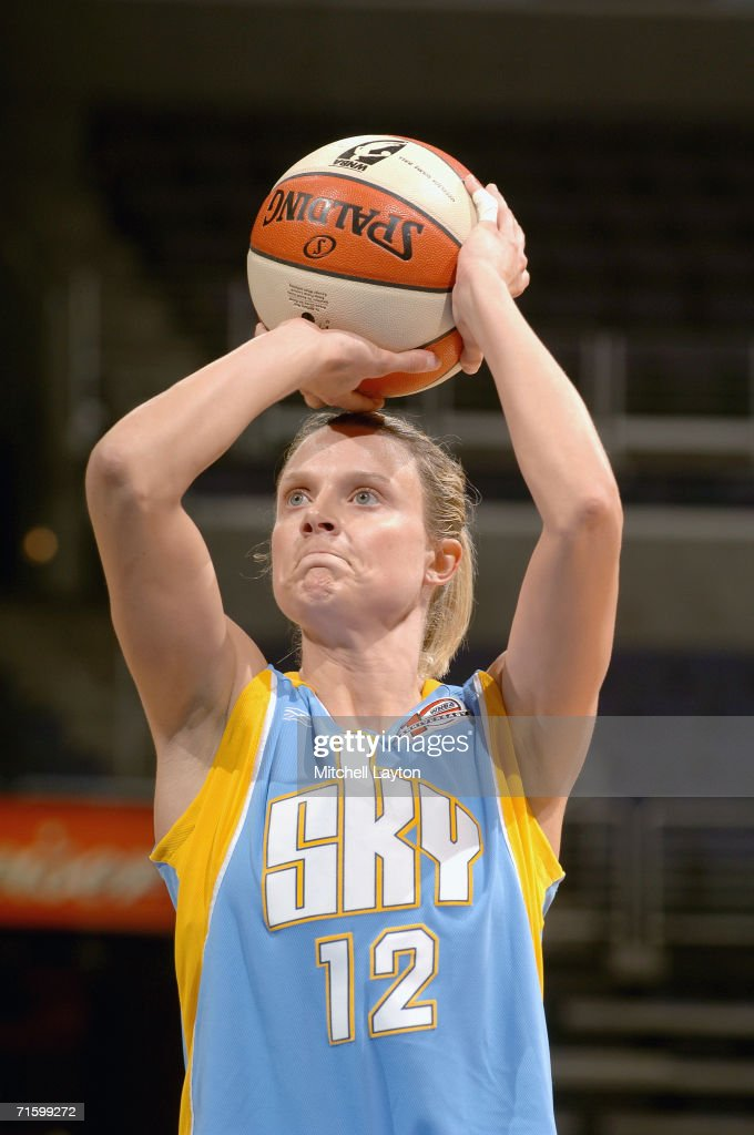Stacey Dales #12 of the Chicago Sky goes for the freethrow against the Washington Mystics on July 27, 2006 at MCI Center in Washington, D.C. The Mystics won 92-74.