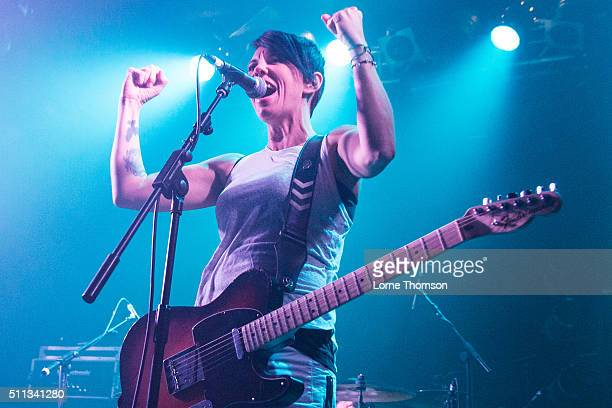 Stacey Dee of Bad Cop / Bad Cop performs at Electric Ballroom on February 19 2016 in London England