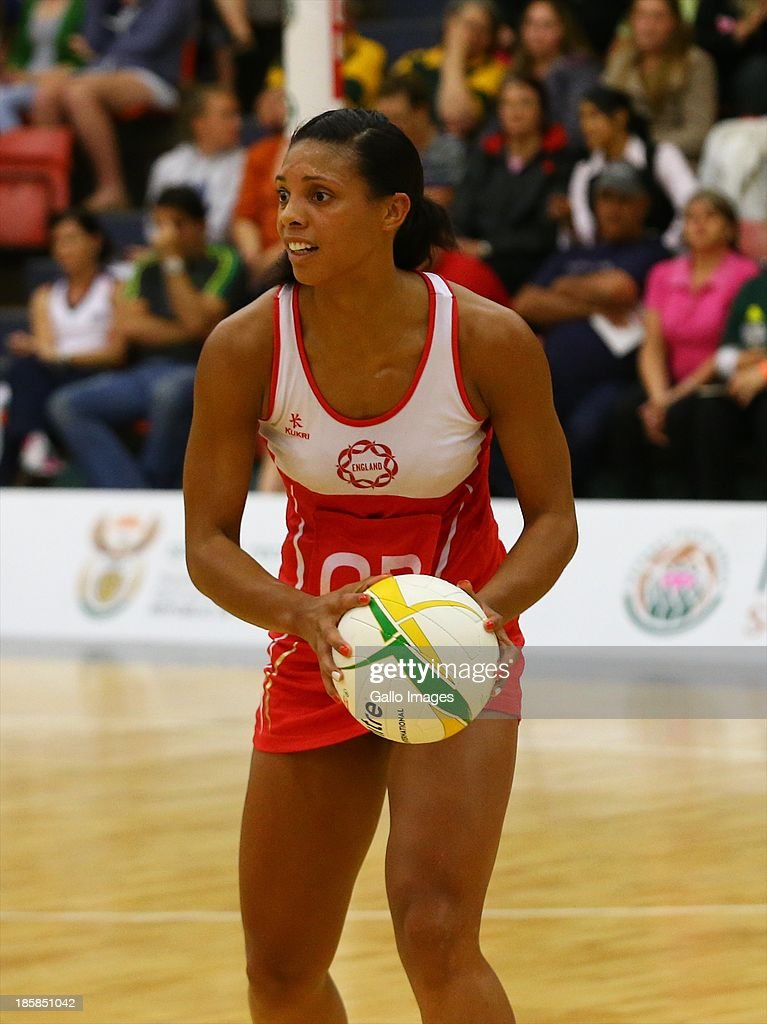 Stacey Francis of England during the International SPAR Tri Nations netball final match between South Africa and England at Vodacom NMMU Indoor Stadium on October 25, 2013 in Port Elizabeth, South Africa.