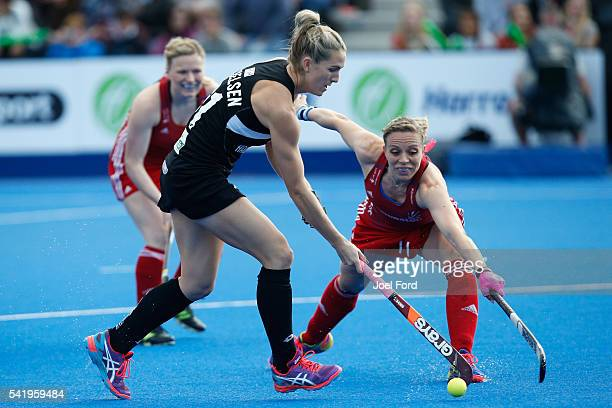 Stacey Michelsen of New Zealand carries the ball during the FIH Women's Hockey Champions Trophy 2016 match between Great Britain and New Zealand at...